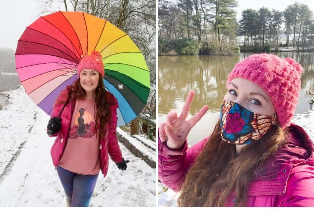 Helen in Wonderlust with umbrella and mask