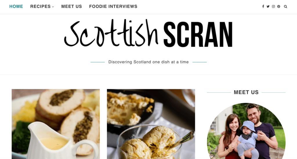 Screenshot of our Scottish Scran website