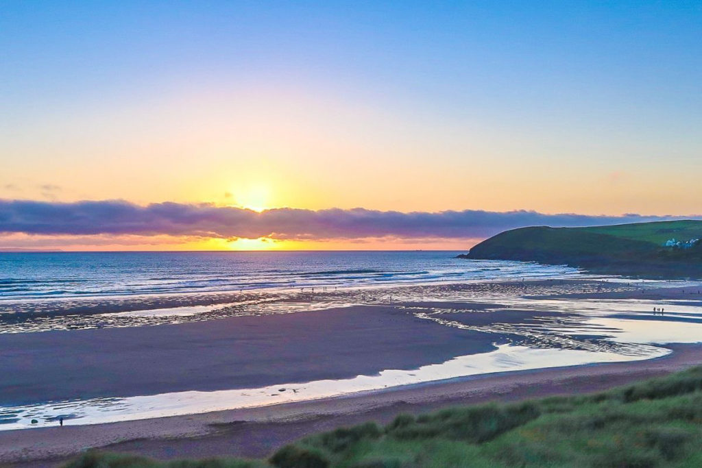 Croyde Beach sunset in Southern England