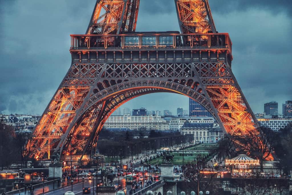 Eiffel Tower in winter in Paris