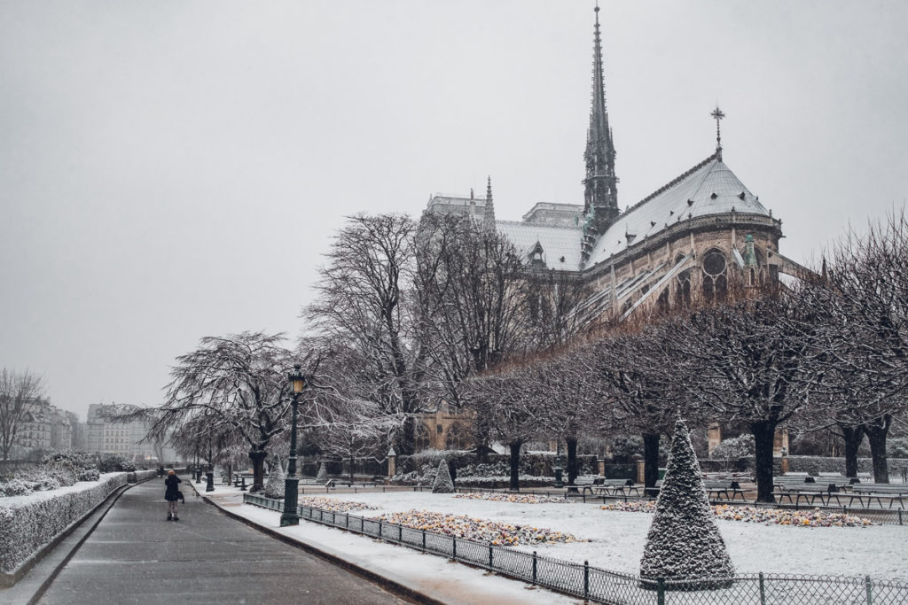 Notre Dame in Paris in Winter