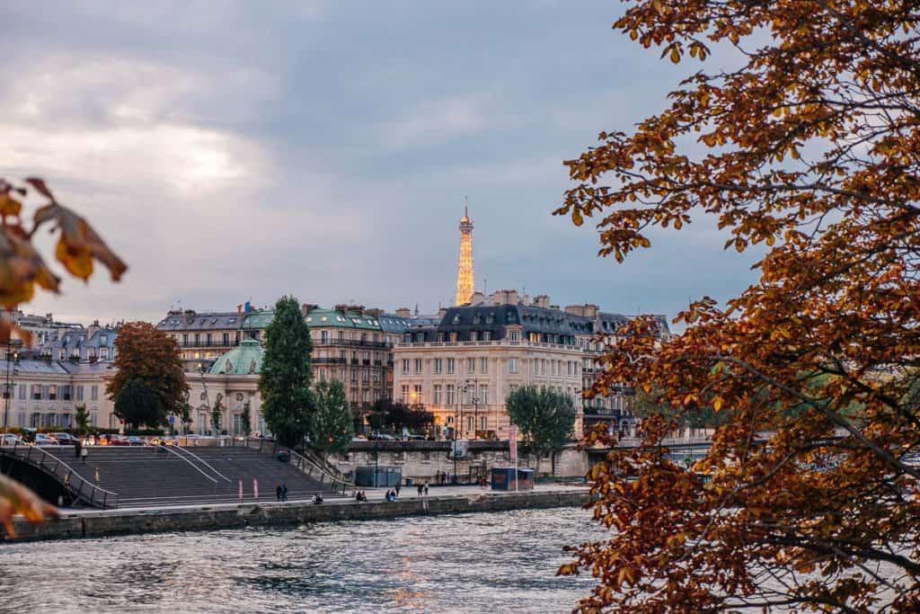 Paris in winter river view