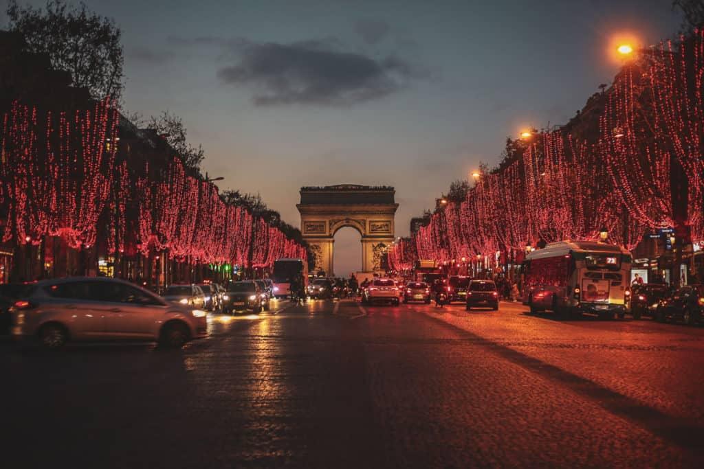 Champs Elysees in Winter in Paris